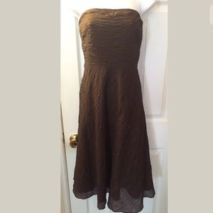 New J.CREW Strapless Espresso Brown Dress embossed